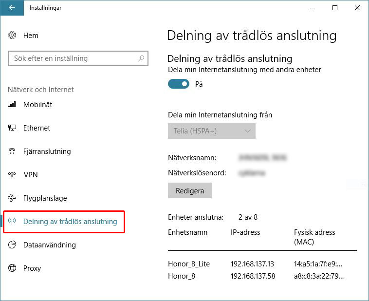 Internetdelning inbyggt i Windows 10