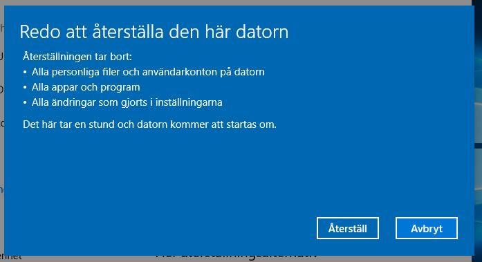 Installera om Windows 10 utan cd-skiva