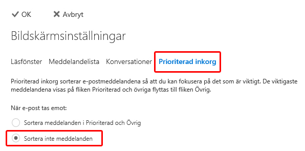 Prioriterad inkorg i Outlook.com